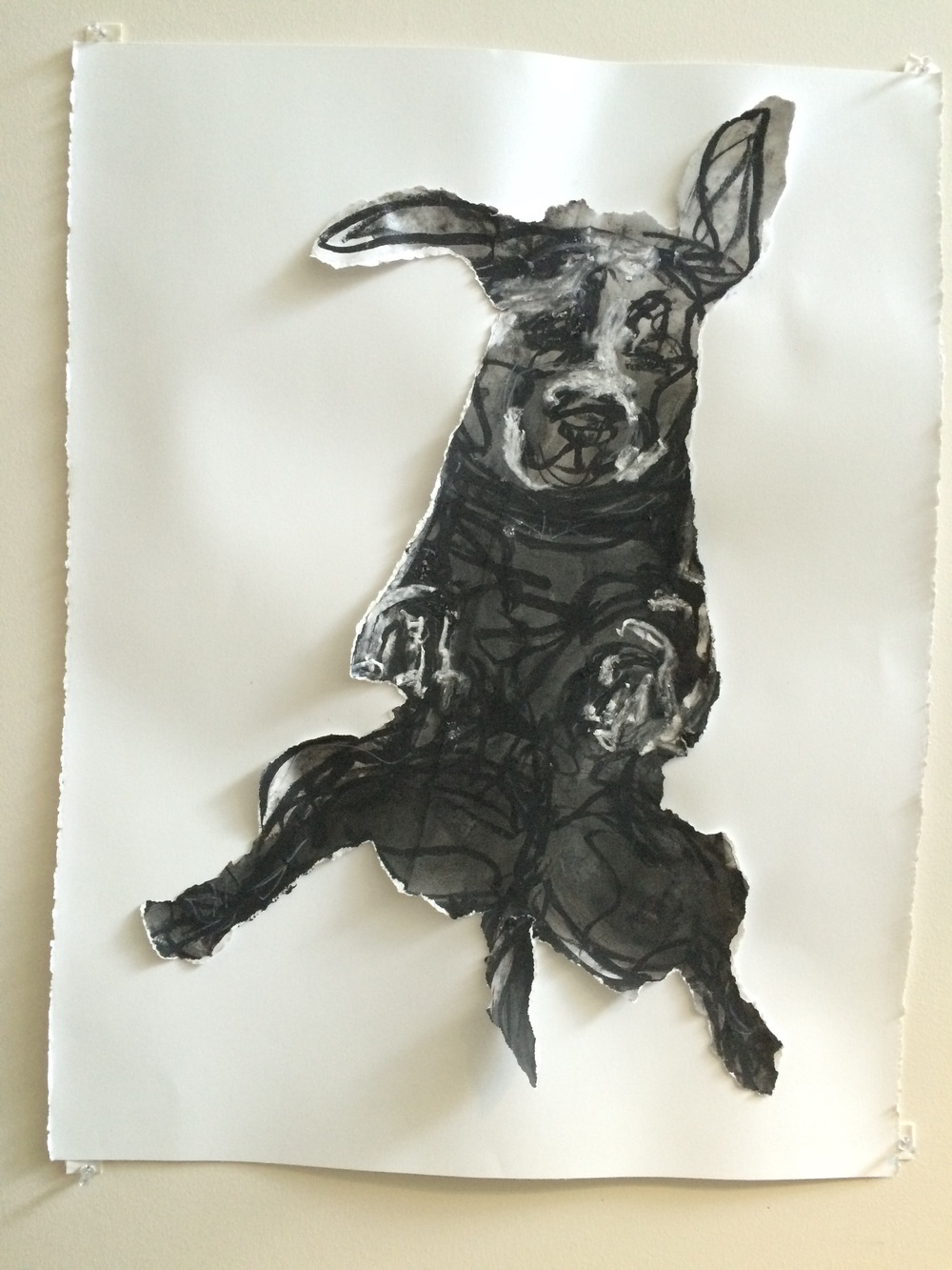 """Jump""   30""X 22""   ink, charcoal collage"