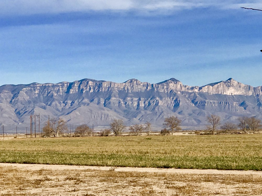 The Guadalupe Mountains - view from the side of our old house.