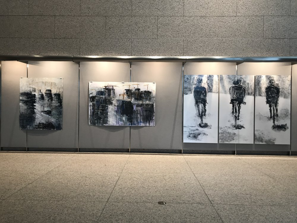 "from left -    CONDENSATION AND CRANES   60"" X 50"" charcoal, ink, and pastel 2015       DANCE OF THE CRANES   50"" X 77"" collage, ink, charcoal, and pastel 2015       THE ROAD TRIPTYCH-    77"" X 38.5"" lenticular print"