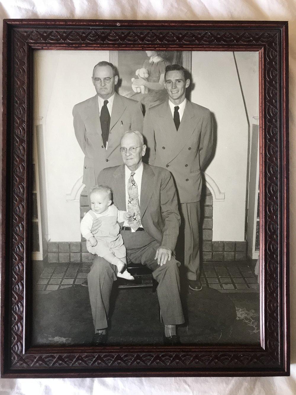 from left-Robert Fleming Travis Jr., Robert Ira Travis Sr., Robert Ira Travis Jr., Robert Fleming Travis Sr.