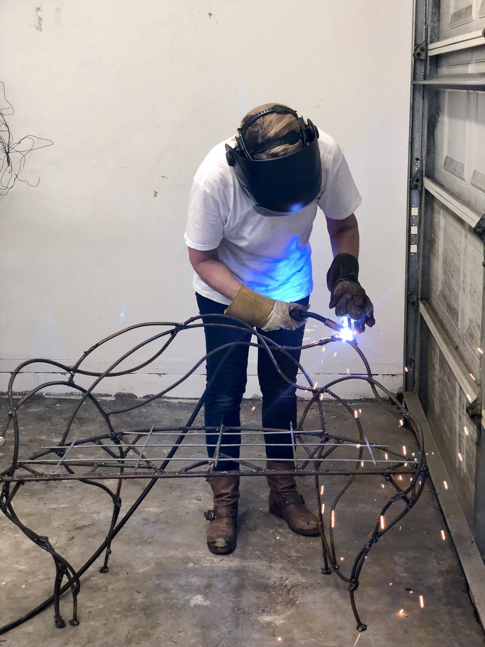 welding the birds on.