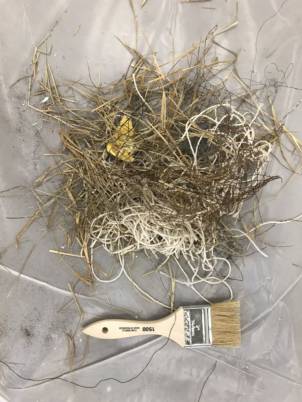 Hay, string and wire-cloth to be mixed with plaster.