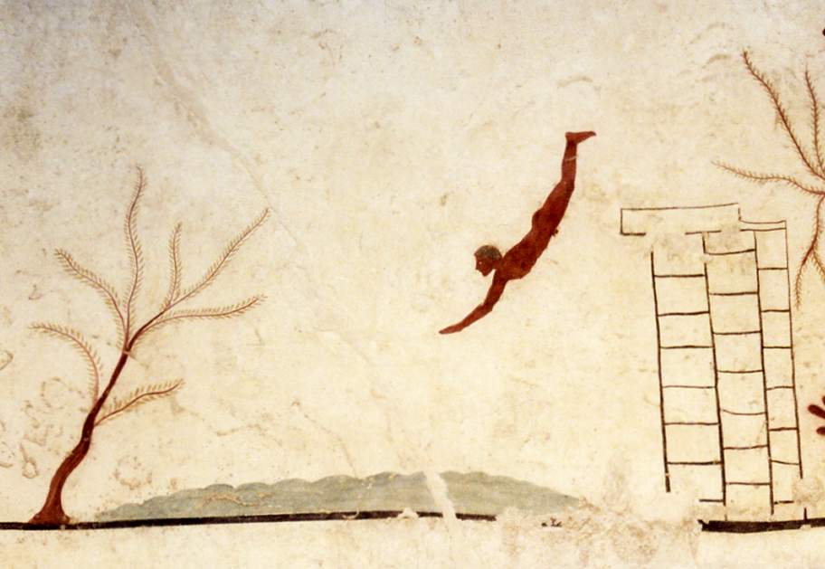 Tomb of the Diver, Fresco, 500 B.C.E., Paestum, Italy. Archeological Museum, Paestum.
