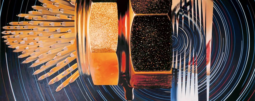 "James Rosenquist, A Leaky Ride for Dr. Leaky, oil on canvas, 78"" x 198"", 1983. Courtesy of SF MOMA"