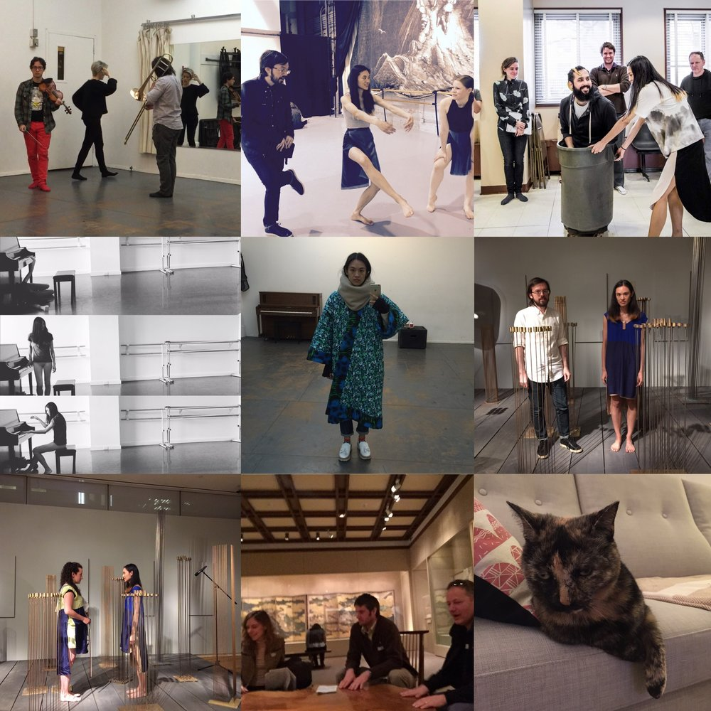 Clockwise from top left: my final Target Margin Institute investigation; backstage with Trevor and Barbie at Periapsis Open Series at GK Arts; Target Margin Intensive, March 2016; at the Museum of Art and Design (MAD) Harry Bertoia exhibit; Coco; at the Met Museum with Target Margin; MAD Bertoia exhibit with Hajnal; work process photos of Test Site 1; a selfie.