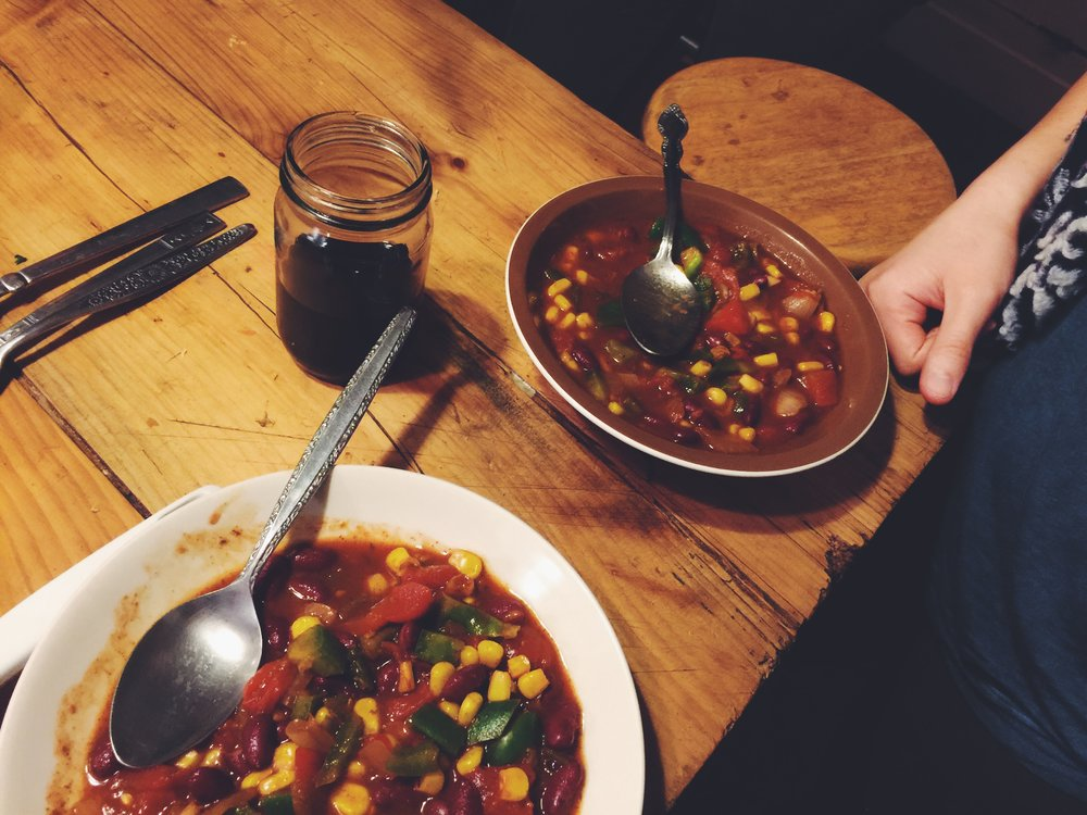 Love this vegetarian chili recipe I found on epicurious. Leftovers for days!