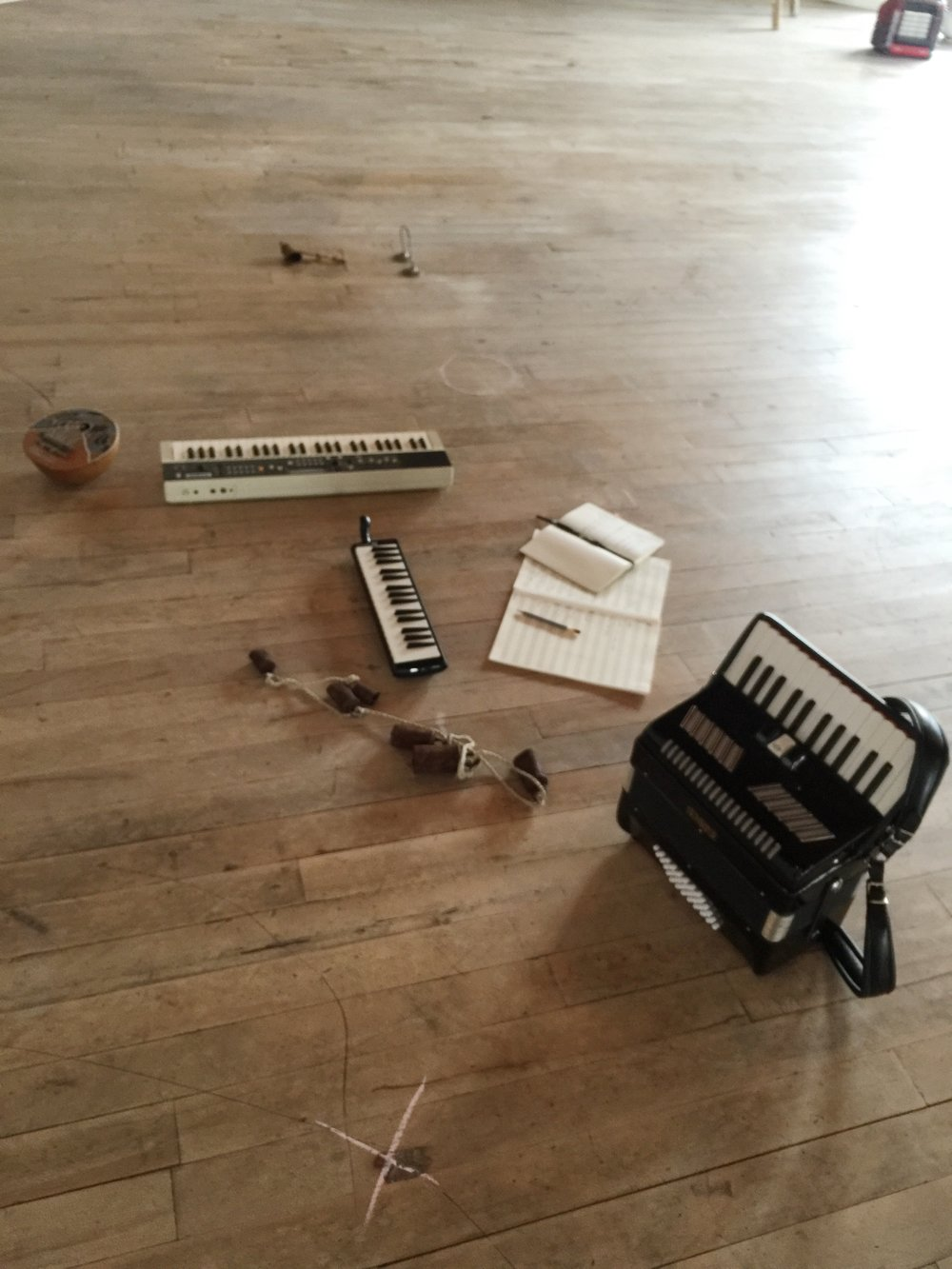 "Thumb piano; a Casio tone from the 80s we nicknamed ""Gene,"" as in Gene Belcher; melodica; Melinda's accordion; and some cow bells that were hanging out at the mill"