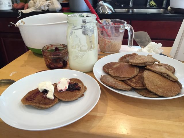 Once we had something that looked and smelled like sourdough, we made pancakes with the flour and water we removed.