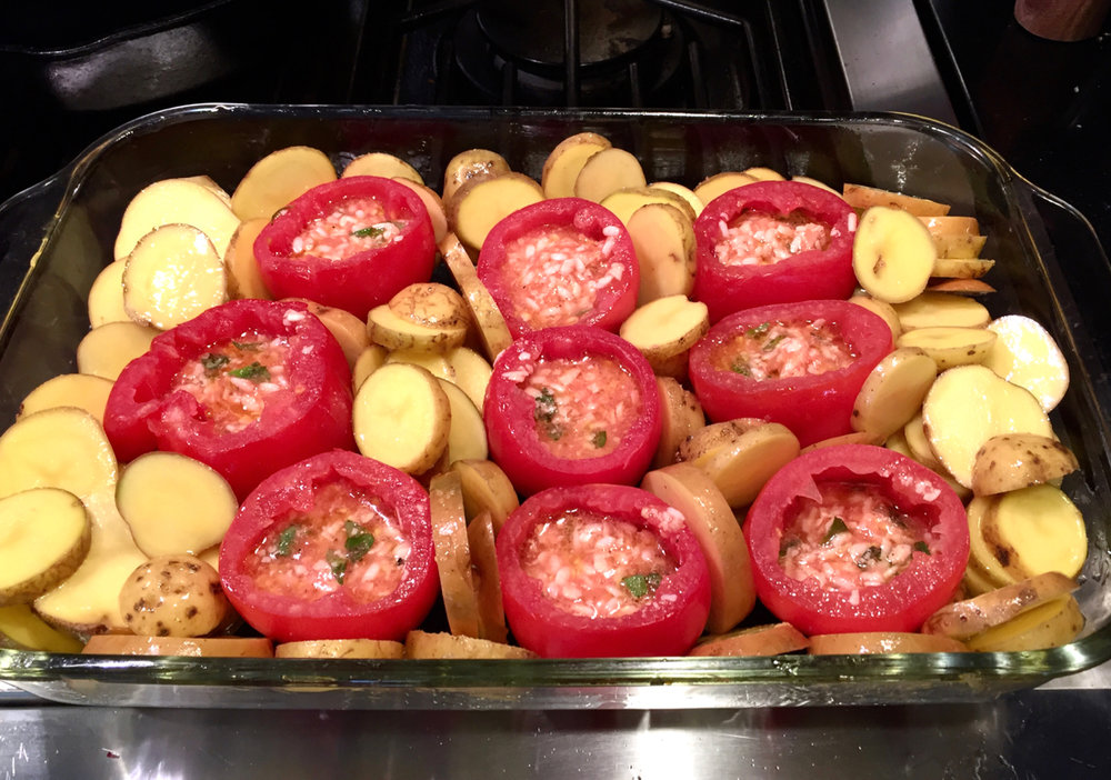 Tomatoes filled, before baking.
