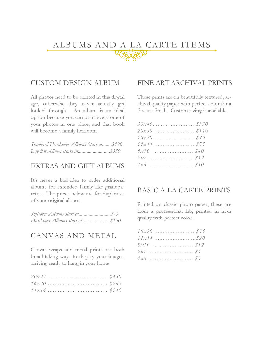 JENNIE GUENARD PHOTOGRAPHY PRODUCT PRICE SHEET
