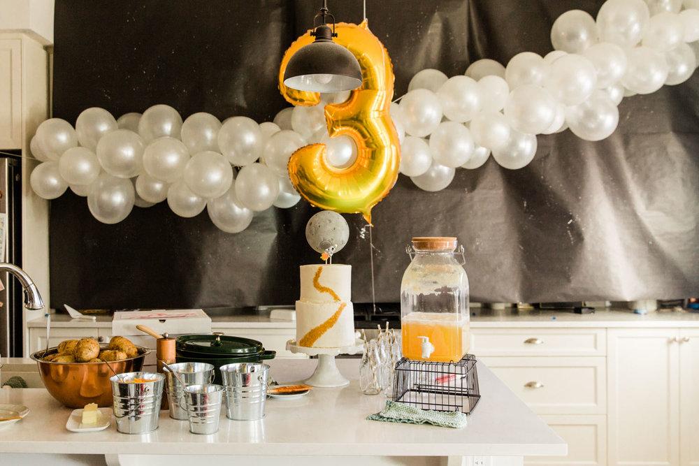 Kids Astronaut Space Party Ideas Third Birthday Calgary Photographer Jennie Guenard Photography Food Table
