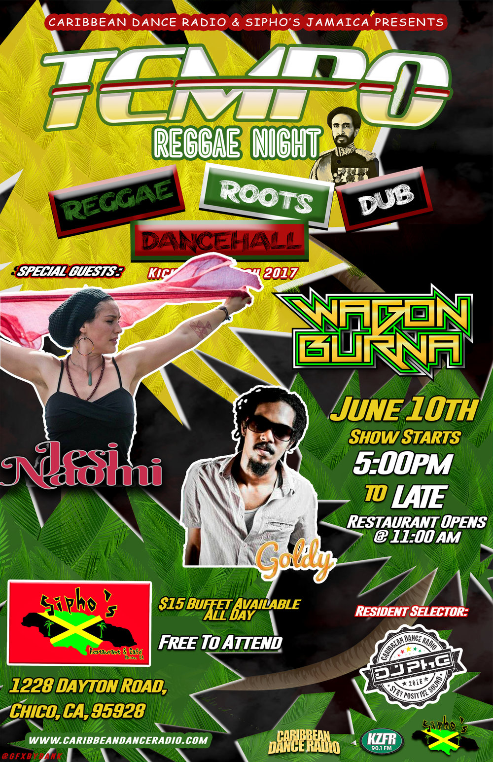 Dust off your nyabhingi drums because our next event is JUNE 10th 2017 with the soulful sounds of  Jesi Naomi  and the exquisite selections of Bruce Wagonburner  aka  WAGON BURNA  ***New to the lineup this month is  Goldy Undeniable  direct from Jamaica! We're bringing back the vibes for the Chico, CA massive and beyond. This a night featuring the genres of Reggae, Dancehall, Dub, and Roots featuring California's top DJ's and Soundsystems.