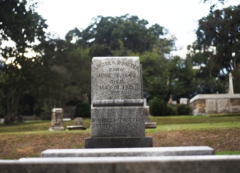 Lou Wooster's grave resides at Birmingham's Oak Hill Cemetery. It's written that countless drove by the grave on the day of her burial to give respects to a local hero. Lou's legacy is remembered today through the Lou Wooster Public Health Award, given by UAB's School of Public Health to deserving individuals, groups or organizations who are unconventional public health heroes. Image: Sarah Cook