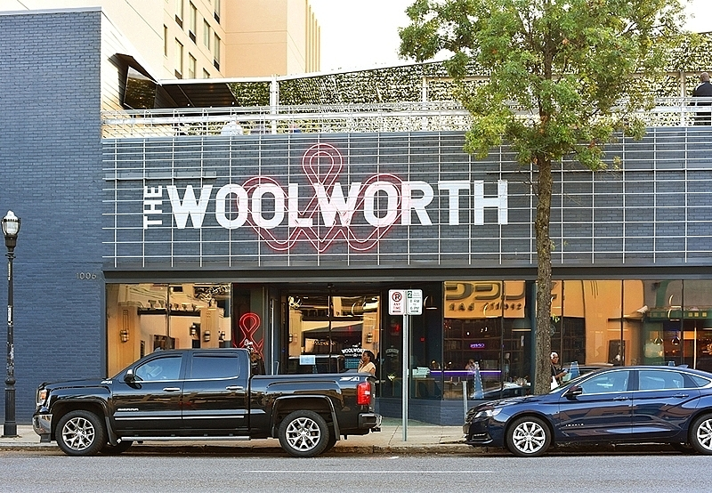 Centrally located in the Five Points South neighborhood,    The Woolworth Recreation and Refreshment    blends entertainment and dining into one venue.