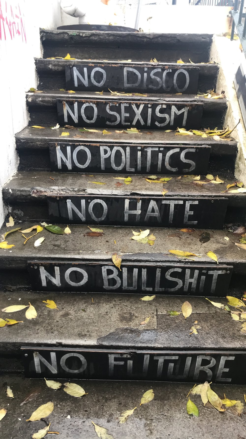 Stairs leading down to an uderground punk museum in Reykjavik.
