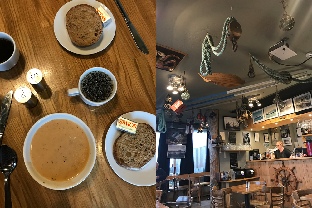 Left : Lobster soup, buttered bread and coffee at Bryggjan Café.  Right : The cafe's interior — decked out in fishing gear and memorabilia.