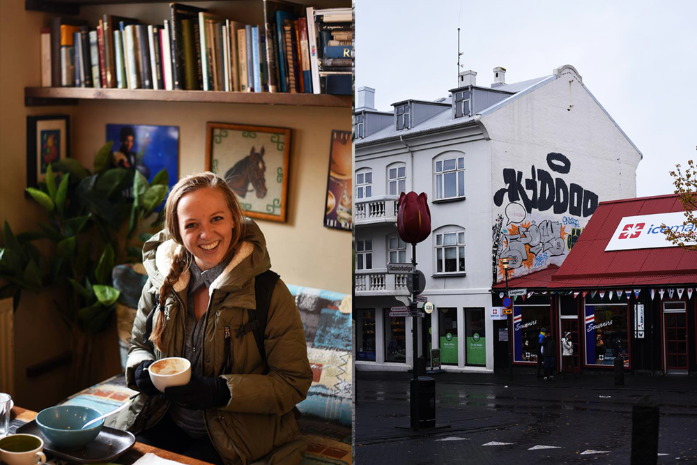 Left : Karly enjoying a latte at Babalu Coffee.  Right : One of the many colorful buildings of downtown Reykjavik.