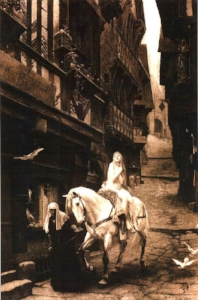 A 19th century dream of Coventry as it never way. Even the fact she's riding a version of side saddle is anachronistic.