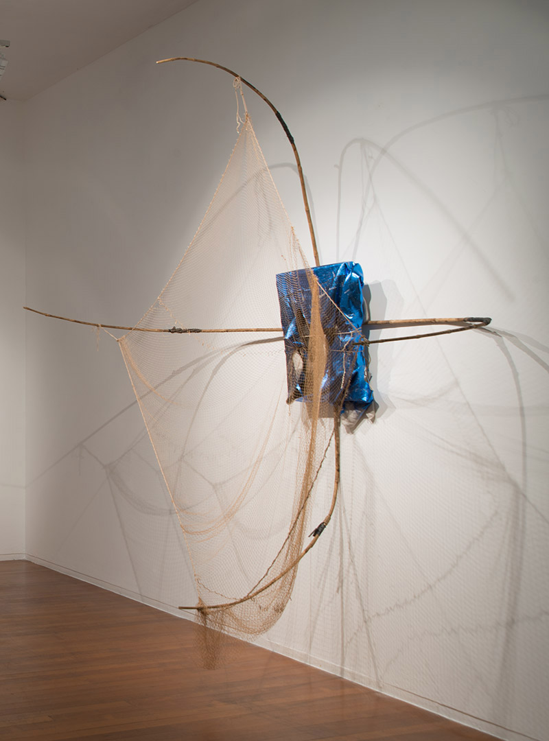 Catching Systems  , 2013   Linen, ink, foil, bamboo, rubber, string   300 × 270 × 125cm