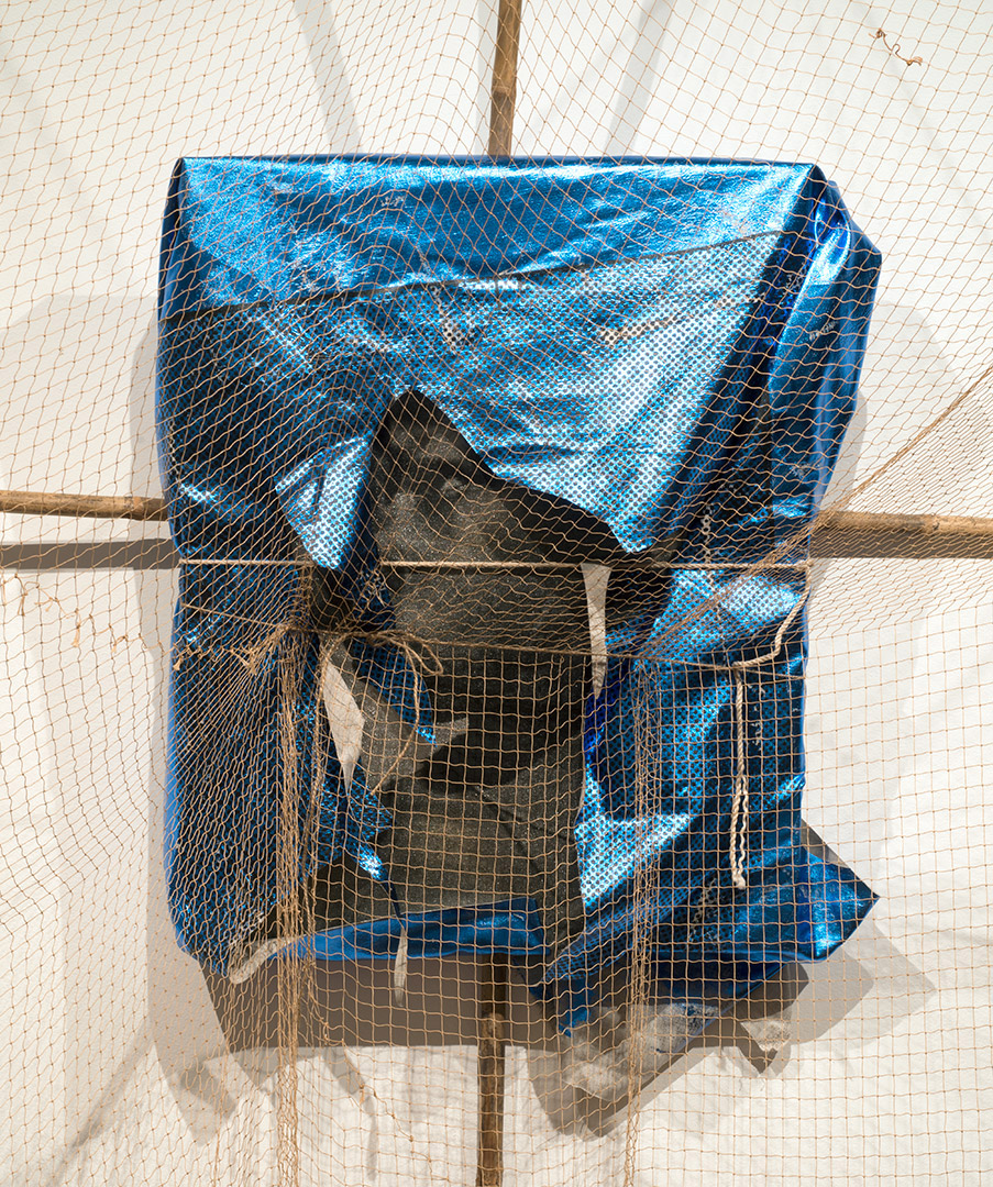 Catching Systems  , 2013    Detail.   Linen, ink, foil, bamboo, rubber, string   300 × 270 × 125cm
