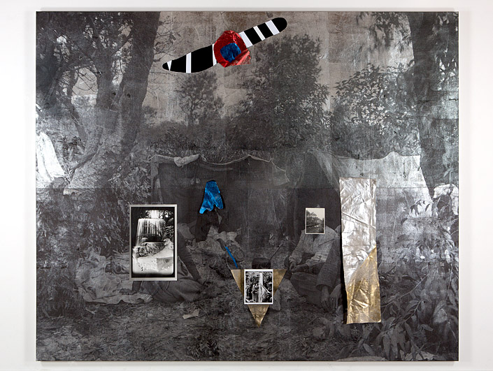 Earth  , 2016   Linen, cotton, acrylic paint, silver gelatin photographs, ink, foil   250 × 300 × 5cm