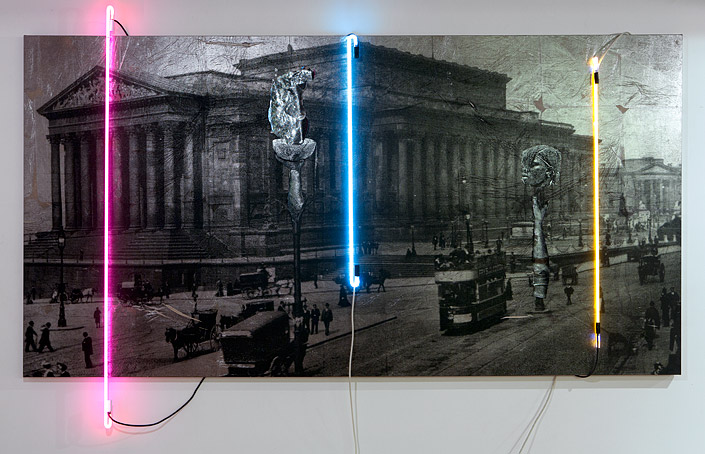 Temples and ghosts aflood the canyon  , 2016   Linen, ink, foil, neon   165 × 322 × 10cm   (205cm height of neon)