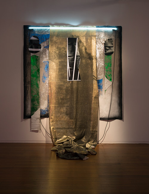 Rocket Shadow  , 2013   Linen, oil pastel, acrylic spray, charcoal, foil   290 × 245 × 135cm