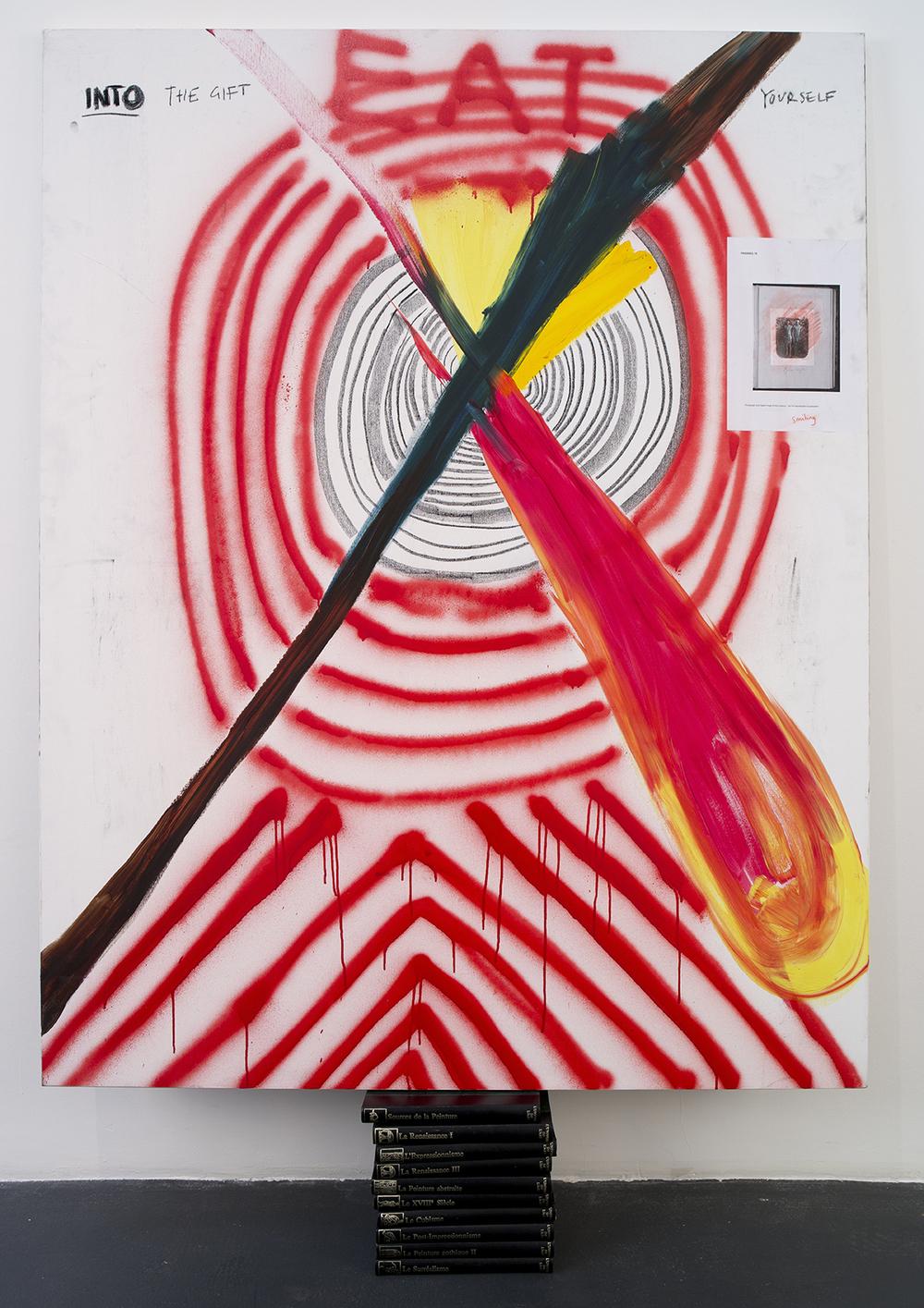 The Gift,  2016  Linen, charcoal, spray paint, oil paint, paper, watercolour, ten books  187,5 x 130 x 17 cm