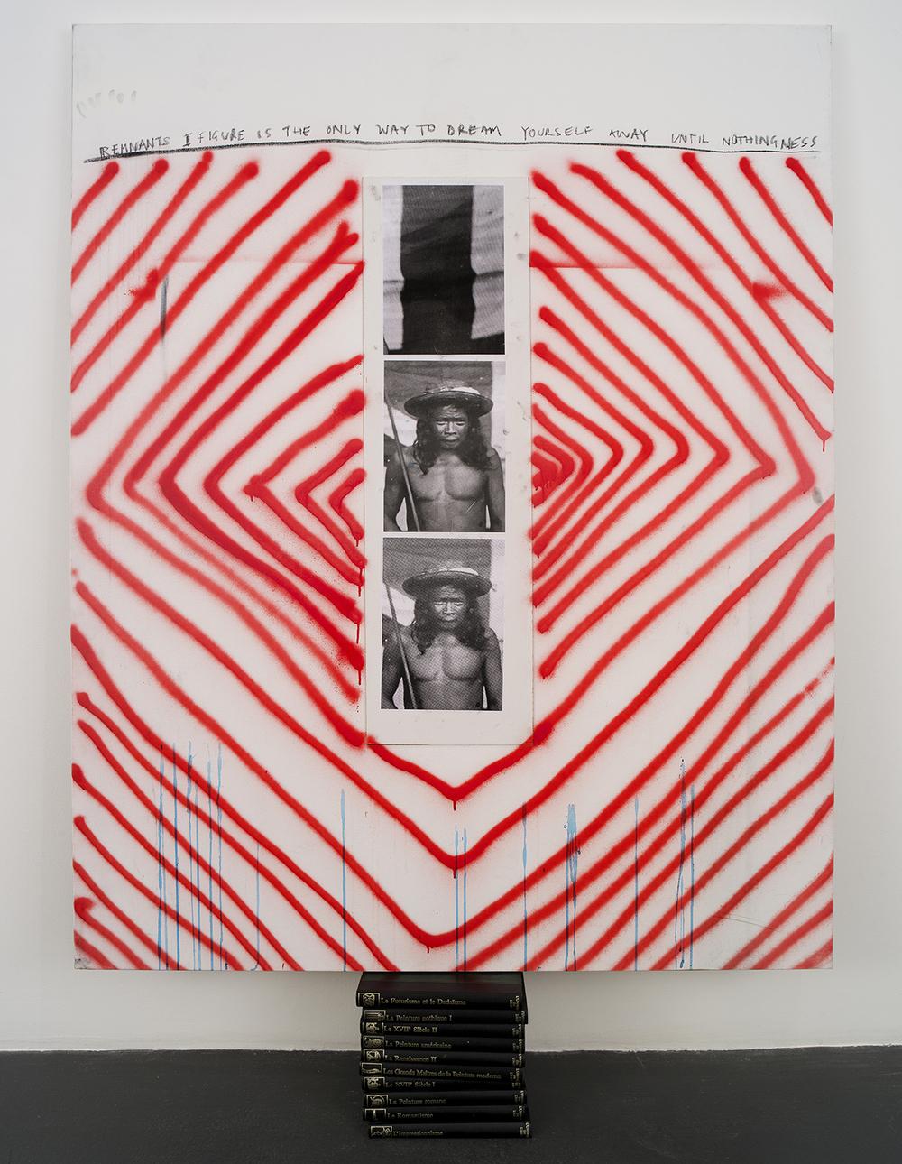 Remnants,  2016  Lin, spray aérosol, encre, fusain, bois, papier, dix livres  187,5 x 130 x 17 cm
