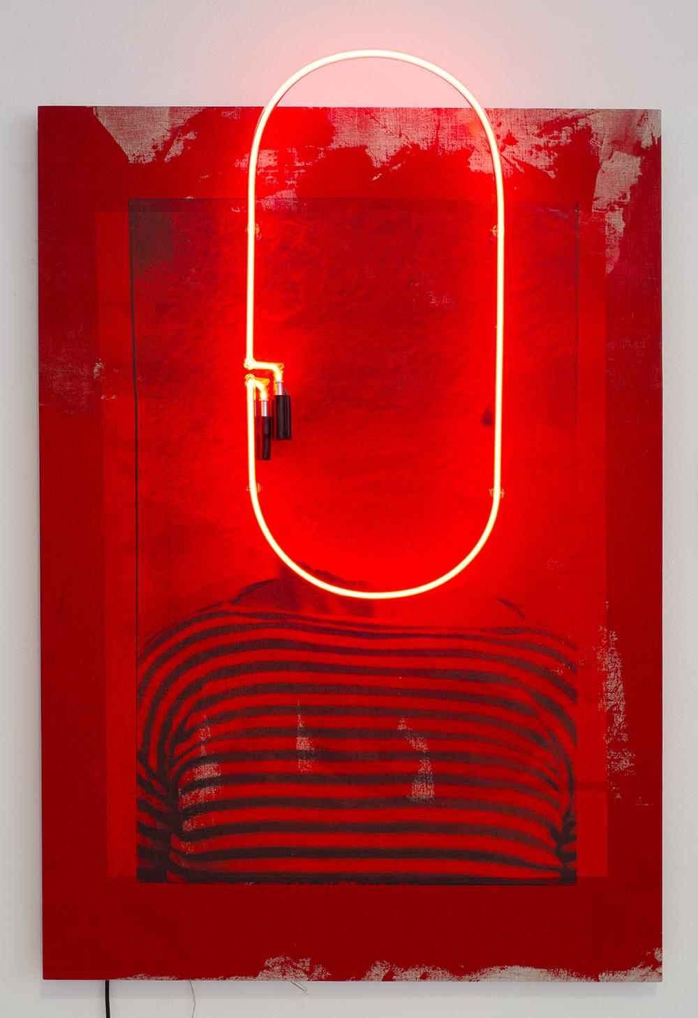 Stripes II,  2016  Linen, acrylic ink, foil, neon  120 x 85 x 10,4 cm