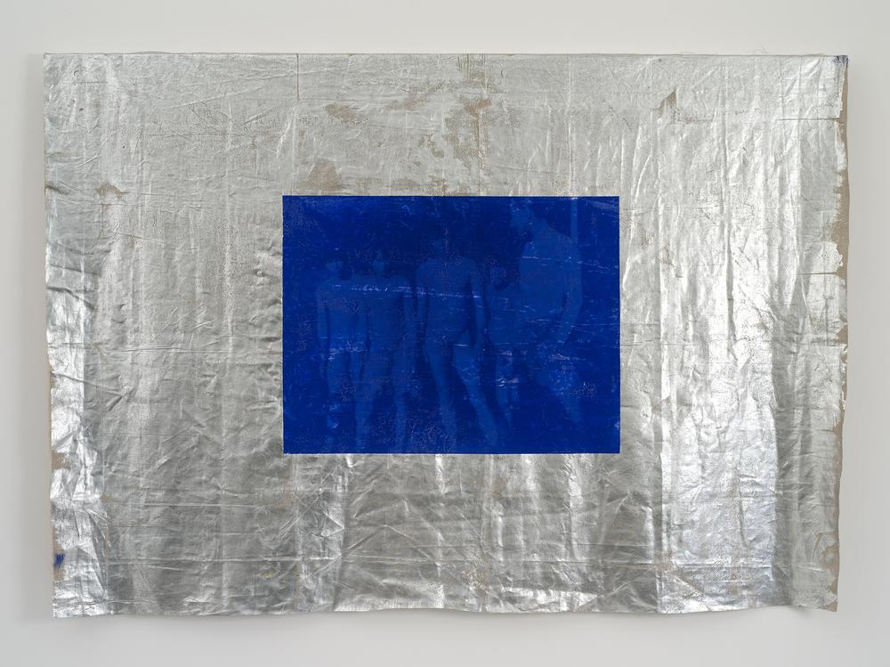 Group of Men: The Protest,  2016  Lin, encre acrylique, pelliculage, bois  146 x 214 x 6 cm