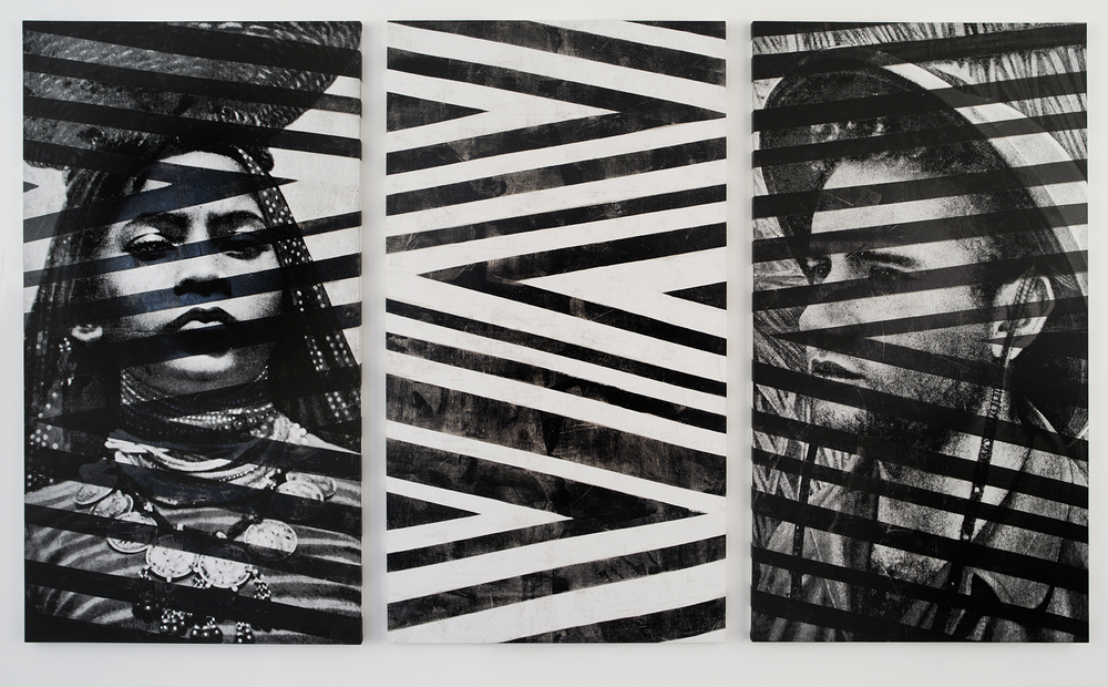 Memory (Triptyque), 2016  Linen, acrylic ink, white and black foil  240 x 410 x 4 cm