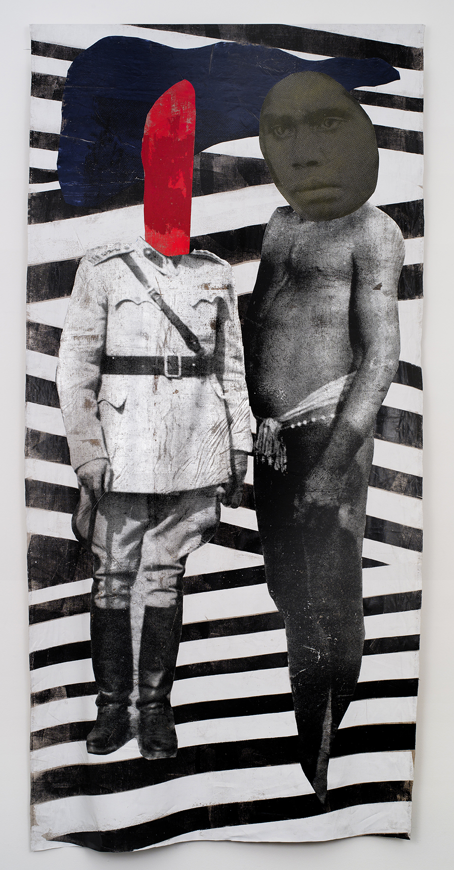 The Forest,  2016  Linen, acrylic ink, oil pastels, foil, wood  303 x 150 x 6 cm