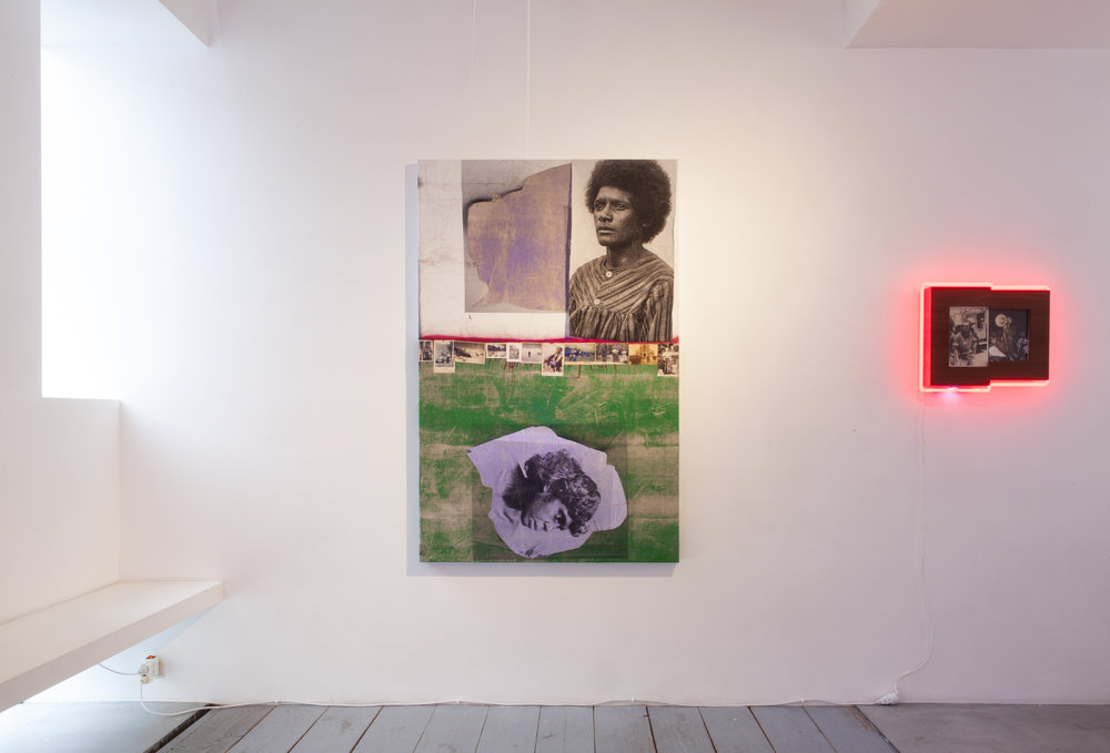 """Assemblage,  2017 February 2 –April, 2017 Galerie Nathalie Obadia, Brussels Installation view Galerie Nathalie Obadia, Brussels.   Press release courtesy of  Galerie Nathalie Obadia :  """"Brook Andrew's work uses juxtaposition and assemblage as a powerful action to comment on memory, memorialisation to decolonialise history. The artist attempts to re-order histories so we can re-visit them in alternate outcomes. As the artist has said, «I wanted to bind complex histories together. It's an assembly of histories...», also, «Andrew's work takes assembly one step further, however, insofar as it is not only a """"form of action ... for acting and living"""" but also for remembering. That """"plural force"""", silent and still, can be one of remembrance; indeed, in the wake of past and persistent colonialisms, it has to be one of remembrance.»"""""""