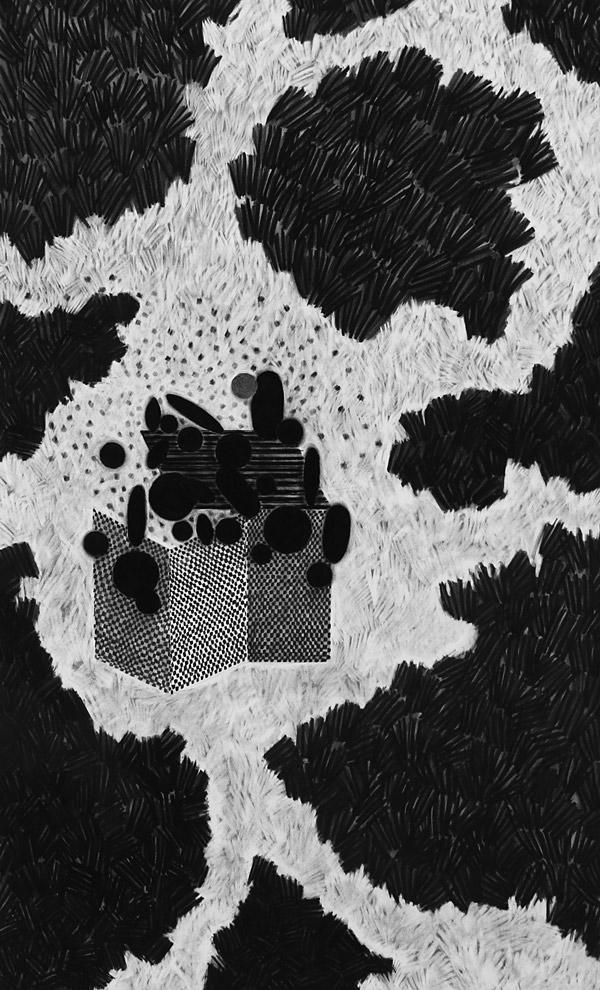 borges' garden, 2014 / charcoal on paper / 89cm x 144cm