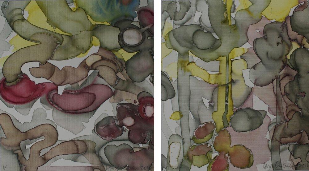 Mango Monday 1 & 2 / 2016 / Monoprint / 19.5cm x 22cm
