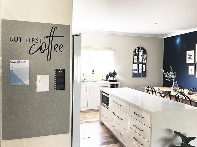 But first... coffee ☕️ Is your Tuesday as organised as it should be? Set yourself up for the week with your weekly plan right where you can see it ✔️ Loving this gorgeous kitchen via @littlebrickhome