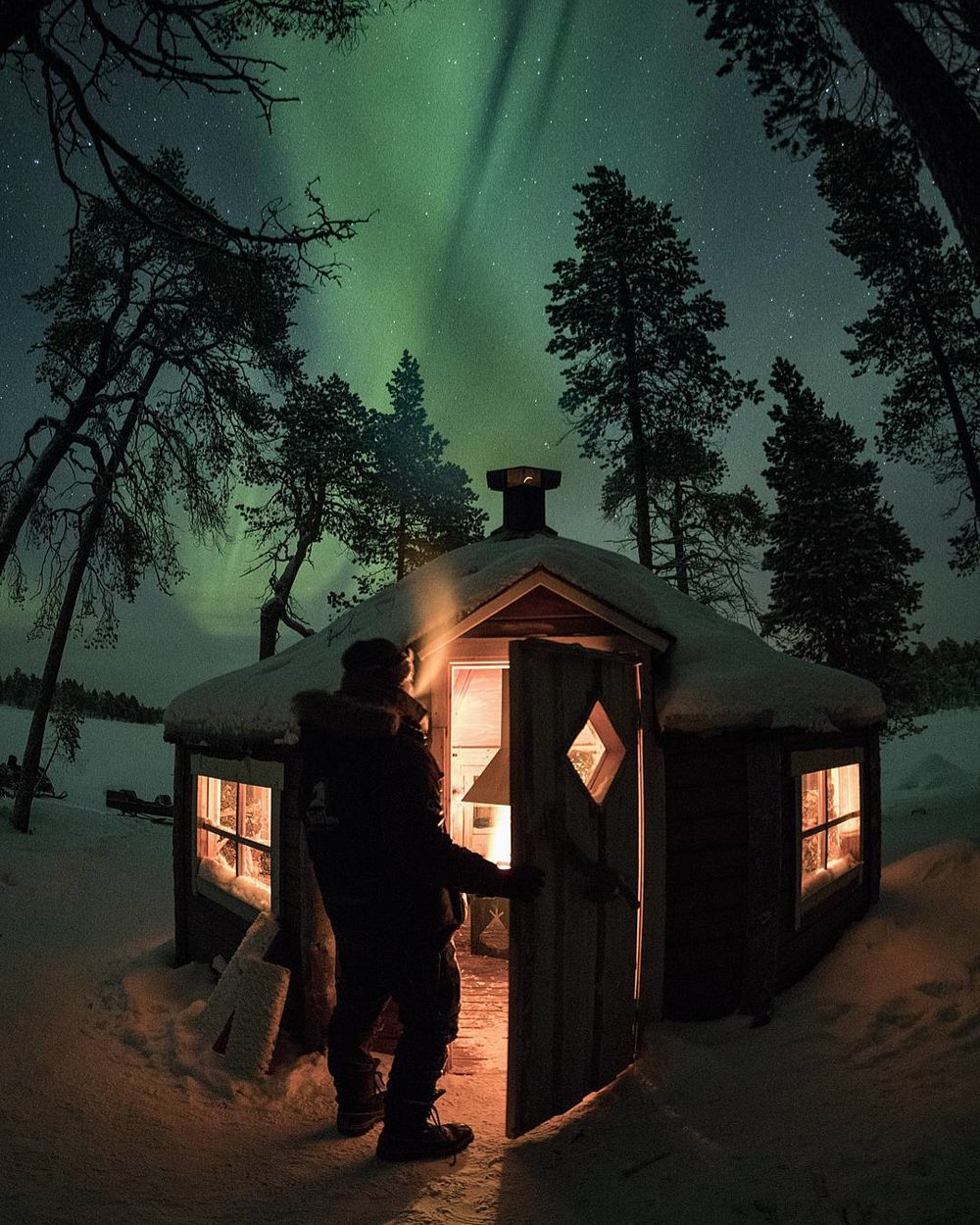 """I stayed in this hut in  Finnish Lapland  on an island in middle of a frozen lake while I hunted for Aurora Borealis .  This cozy place was more than I could ever need. ""   Submitted by  @anthophotographie"