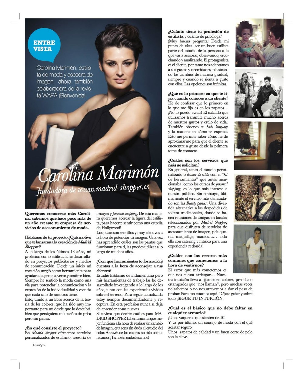 Wapa Magazine 46 – Interview to founder of Madrid Shopper, CAROLINA MARIMÓN   (Summer 2014)