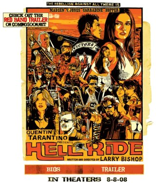 Poster for Larry Bishop's Film 'Hell Ride', released under the Tarantino Presents banner
