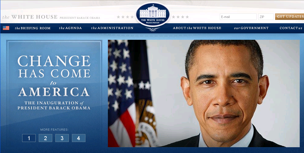 This was the page of whitehouse.gov, shortly after the inauguration of President Obama