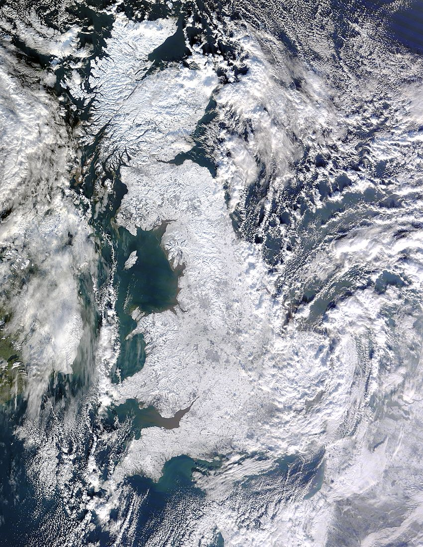 A snow covered Britain