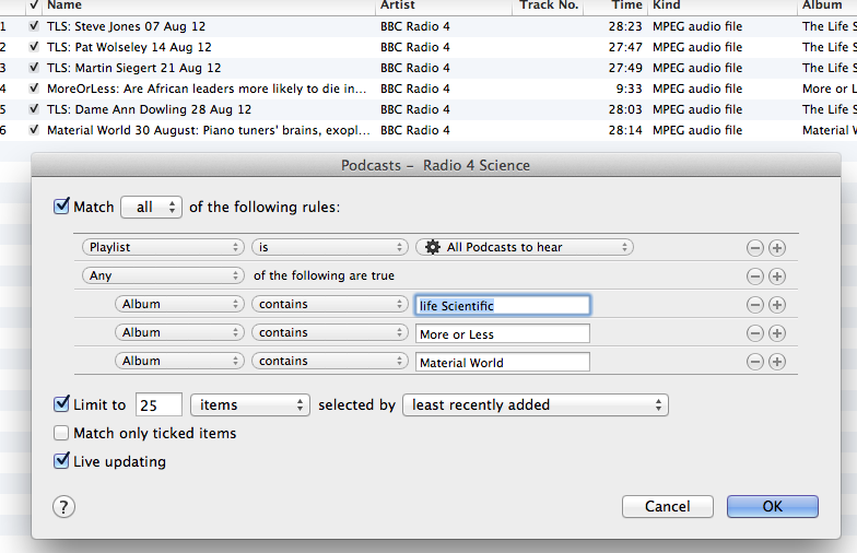 Smart Playlist with Conditional Rules in iTunes