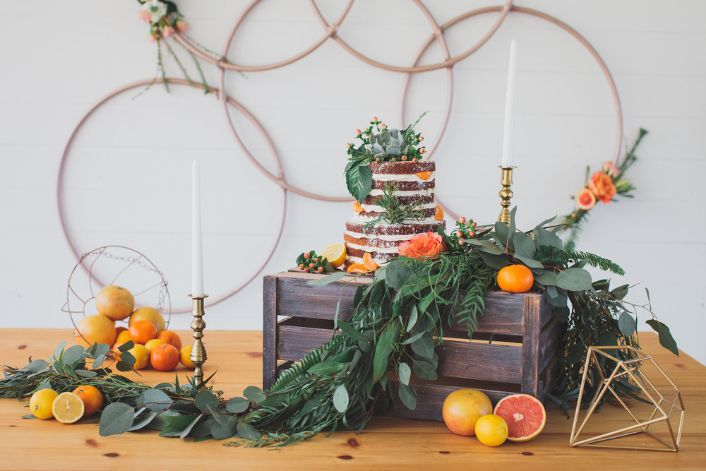 A sweet and simple citrus naked cake by our friends at Root Celler Bakery and Catering!