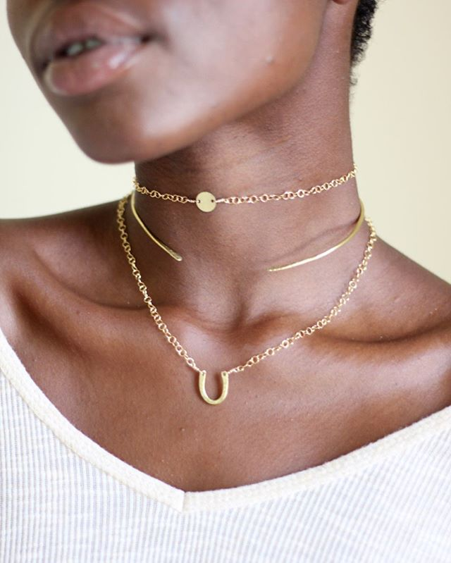 ⚡️T H E  S E T ⚡️ The Fira Choker, Néhémie Neck Cuff (named for the beautiful Haitian woman who makes them), and the Lucky Charm Necklace 💛 we're swooning over the wander collection and @angepljacke gorgeous glowing skin ✨