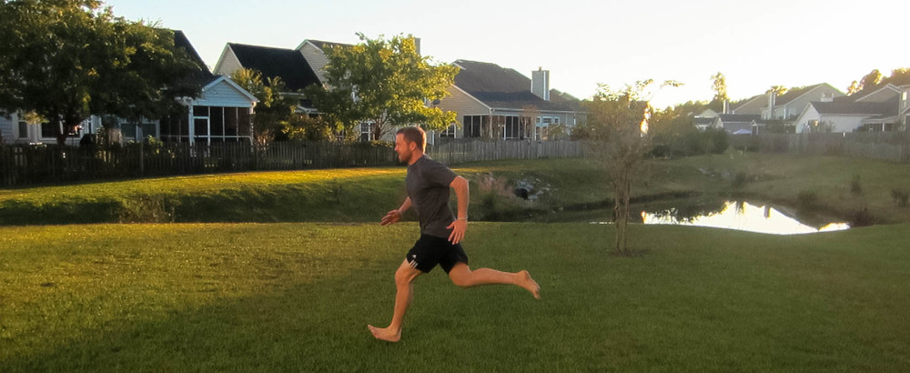 Here is me sprinting barefoot in my back yard.