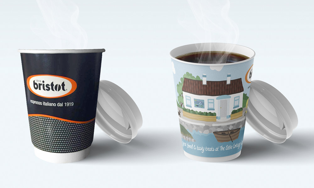Left: Old Bristot takeaway cup, Right: New Bristot takeaway cup