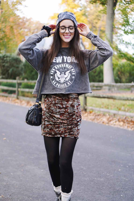 beanie:   disturbia   | glasses:  urban outfitters  | sweatshirt:  brandy melville  | skirt:  free people  | socks:   free people   | Boots:  free people  | bag:  urban outfitters