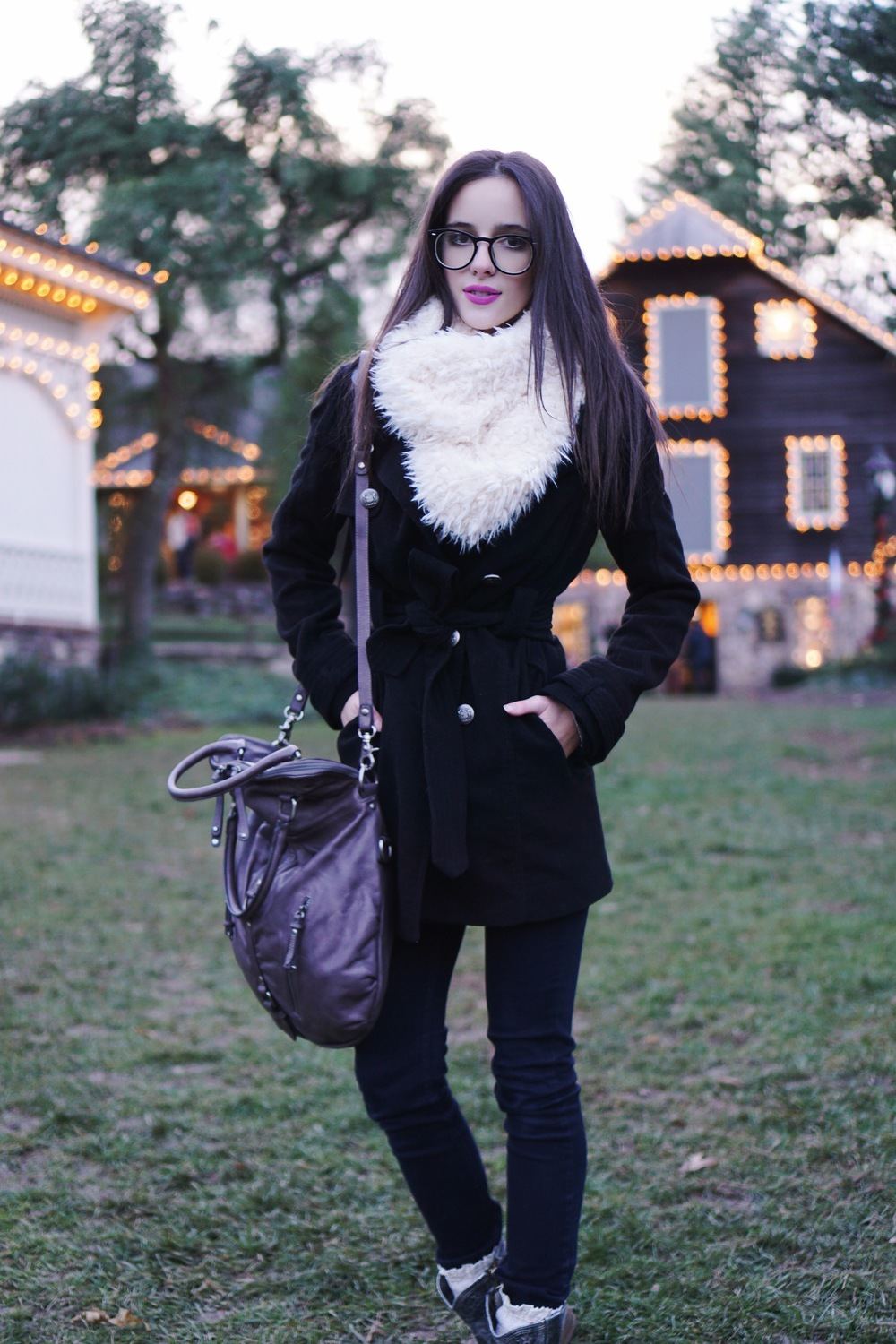 glasses:  urban outfitters  | faux fur infinity scarf:  urban outfitters  | coat:  urban outfitters  | jeans:  urban outfitters  | socks:   free people   | boots:  free people  | bag:  urban outfitters