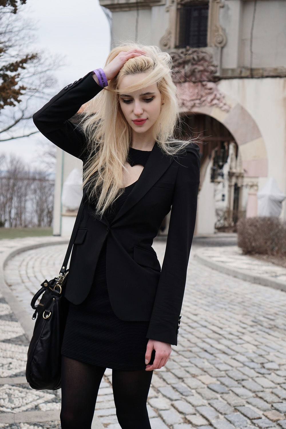 blazer:  zara  | dress:  urban outfitters  | bag:  urban outfitters  | boots:  free people